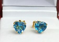 14k Solid Yellow Gold Solitair/ One Stone Stud Earrings, Heart Blue Topaz
