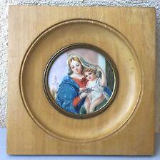 """Ancienne miniature peinture """"maternité"""", vierge à l'enfant, signée"""