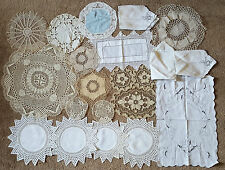 LOT OF VINTAGE EMBROIDERED LACE CROCHET DOILIES FINE HANDMADE LINEN PLACE MATS