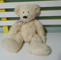RUSS TEDDY BEAR CREAM WITH PURPLE BOW 30CM NO NAME