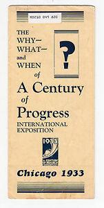 1933 CHICAGO WORLD'S FAIR Promotional Brochure / Pamphlet