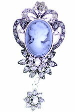 Vintage retro style Victorian lady cameo brooch bag pin w/hanging crystal flower