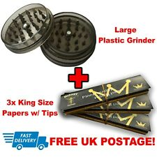 LARGE 3 Part Plastic Grinder & 3x King Size Slim Rolling Papers!