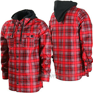 VOLCOM Mens 2016 Snowboard Red Plaid FIELD BONDED DWR FLANNEL Hoodie