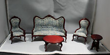 Wooden Doll House Victorian Couch, 2 Side Chairs, Coffee Table, End Table