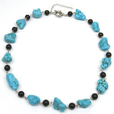 """18"""" Beautiful Blue Simulated Turquoise Necklace w/ Black Beads with Toggle Clasp"""