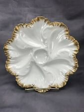 Alfred Lanternier AL Limoges 5- Well Oyster Plate Ivory & Gold Scrolled