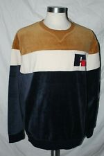 Russell Athletic Long Sleeve Brown Blue White Velour Sweatshirt XL NWT