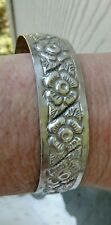 Old Mexico  Coin Silver Flower Cuff Bracelet Signed