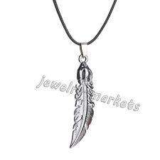 Unisex Men Stainless Steel Jewelry Feather Cross Pendant Leather Chain Necklace