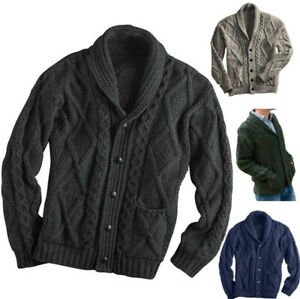 Men's Button Down Shawl Collar Cardigan Sweater Cable Knit Knitwear with Pockets