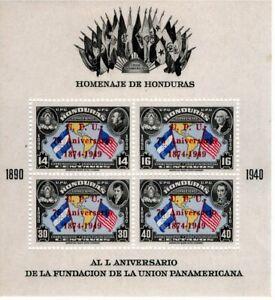 1949 UPU HONDURAS SOUVENIR SHEET VF MNH
