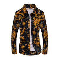 Brand Men's Stylish Long Printed Sleeve Slim Fit Button Front Casual Shirts New
