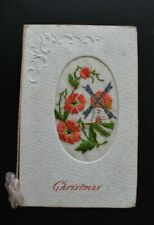 More details for genuine vintage ww1 military silk embroidered postcard christmas unposted