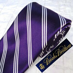 $75 NEW NWT BROOKS BROTHERS Wven England Royal Purple Silk Tie + Triple Stripes