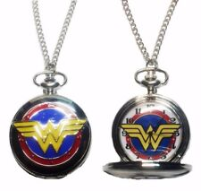 "Wonder Woman Logo Pocket Watch Necklace/Pendant On 30"" Chain FABULOUS!"