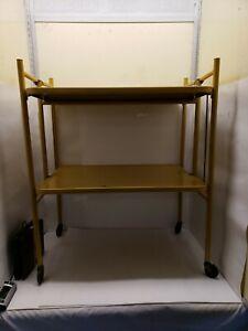 Vintage Metal Kitchen Cart, Versa-Table, Folding Shelves, Mustard Yellow