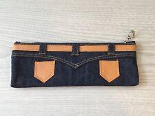 New Soft Cloth Denim Jean Pockets Slim Pencil Pen Case School Stationary Collect