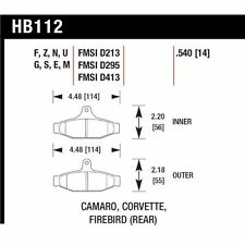 Hawk HB112F.540 HPS Rear Disc Brake Pad Fits 85-96 Chev Camaro/Corvette/Firebird