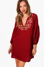 Boohoo Women's Tunic/Smock Dress with Embroidered