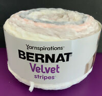 Bernat Velvet Stripes, Pink, Gray, White; Bulky Weight (5), Color: Whisper