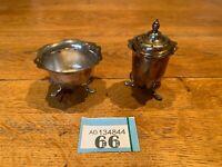 Vintage Silver Plated Cruet Set Open Salt Cellar With Pepper Shakes On Feet