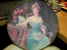ANTIQUE CHIMNEY FLUE COVER- Seated Victorian Lady with a Fan
