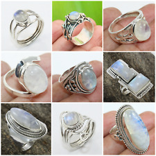 RAINBOW MOONSTONE HANDMADE JEWELRY RING IN 925 STERLING SILVER FOR CHRISTMAS