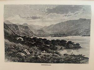 1880 View Of Derwentwater, Lake District, England Original Antique Print