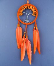 TREE OF LIFE DREAM CATCHER ORANGE dreamcatcher natural black feather 9 X 25 CM