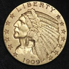 1909-D Gold $5 Indian Half Eagle CHOICE AU+/UNC FREE SHIPPING E386 KEPT