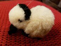 "Vintage Steiff Mini Wool & black white Pom Pom Bunny Rabbit 3.5"" x2.5"" Tag & Pin"