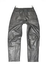 "Black Real Leather Biker Straight Leg Women's Trousers Pants Jeans Size W31"" L27"