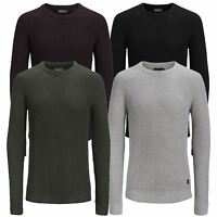 JACK & JONES Pannel Mens Jumper Crew Neck Long Knitted Pull Over Sweater