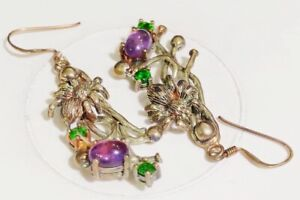 Earrings Natural Amethyst & Chrome Diopside 0.925 Silver Multi-Tone Gold Plated