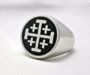 Jerusalem Cross Ring Crusaders Cross Five Wounds of Christ Ring