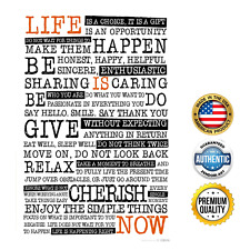 Life Rules Sayings Poster Motivational Manifesto - Inspirational Quotes, 12x18