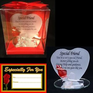 SPECIAL FRIEND RED ROSE GLASS HEART SHAPED VERSE PLAQUE GIFT TAG KEEPSAKE