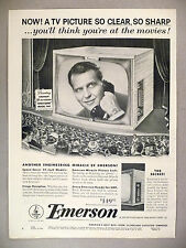 "Emerson Television PRINT AD - 1953 ~~ Ralph Bellamy ""Man Against Crime"""