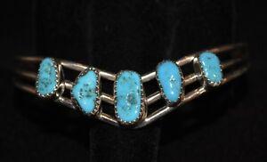 Bracelet Turquoise Sleeping Beauty & Sterling Silver Native American Navajo Hill