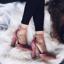 Women's Summer Open Toe High Block Heels Sandals Ankle Strap Pumps Shoes Size