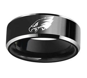 Philadelphia Eagles Black Stainless Steel Engraved Ring Size 6 7 8 9 10 11 12 13