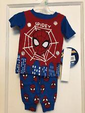 MARVEL SPIDERMAN Baby Boys  Pj's  9 Months 2 PIECE  SHORT SLEEVE TOP  PANTS BNWT