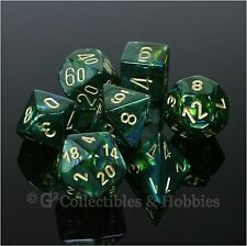 NEW 7pc Set Scarab Jade Green w Gold RPG Dice in Box D&D Game Chessex 7 piece