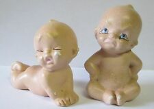2 VINTAGE 1950's MAD/CRYING PORCELAIN PIANO BABY FIGURINE - KEWPIE STYLE