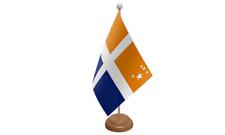 Îles Scilly (croix) table drapeau avec en bois socle