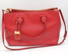 GORGEOUS RALPH LAUREN RED TOTE BAG HANDBAG, LEATHER, GOLD TONE ZIPPERS