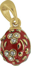 Faberge Egg Pendant / Charm with crystals 1.5 cm red #0969