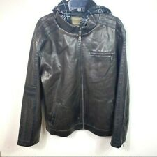 Machine Clothing Co faux leather jacket brown hooded mens XL