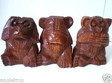 3 THREE WISE MONKEYS CARVED HARD WOOD CARVING STATUE /ORNAMENTS BALINESE SMALL